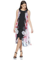 Roman Originals Women's Pink Floral Print Split Chiffon Dress Sizes 10-20