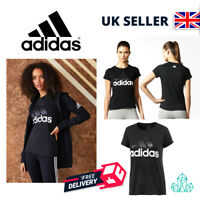 New Ladies Adidas Essential Linear T-Shirt Black Logo Women's Tee XL UK 20-22