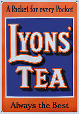 LYONS TEA, Vintage style, Metal sign, Collectable, Enamel, No.604