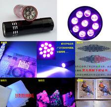 Mini Aluminum UV ULTRA VIOLET 9 LED FLASHLIGHT BLACKLIGHT Torch Light Lamp LO CA