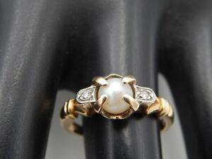 Estate 10k  Natural Akoya PEARL  Single Cut Diamond D/VS, Handmade Ring Vintage