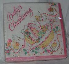 Vintage Baby Girl Christening Baptism Party Beverage Napkins Angels 32 count