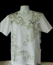 NWT Versace 19V69 Italy V Neck Golden Paisley Graphic White T Shirt M-L-XL