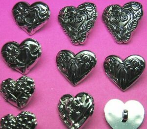 ASSORTED SILVER HEARTS Pretty Vintage Victorian Flower Dress It Up Craft Buttons