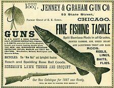 Advertisement Original Jenney & Graham Gun Co Guns Fishing Tackle Chicago 1887