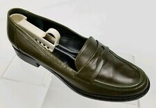KENNETH COLE New York Women's Penny Loafers Green Leather Shoes Italy Size 6.5M