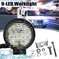 27W 9 LED Feux Phare Travail Projecteur Rond Etanche Spot Camion 12V/24V 4WD 4x4