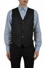 Dolce & Gabbana Men's Black Wool Silk Plaid Button Down Vest US 38 IT 48
