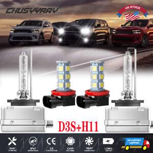D3S HID Headlight Hi-Lo + H11 LED Fog Light Bulbs For Dodge Durango 2014-2017