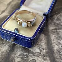 Art Deco 9ct Yellow & Rose Gold Pearl Ring, Antique Band, 3.9 grams, UK R 1/2