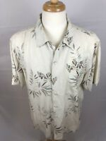 Luau Mens 100% Finest Silk Hawaiian Shirt Large Short Sleeve