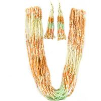 "24"" Pink Mint Green Cream Seed Bead Gold Tone Necklace & 4"" Earrings Jewelry Set"
