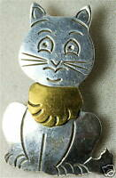 VINTAGE LARGE MEXICAN MEXICO STERLING SILVER CAT PIN