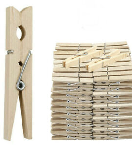 Heavy Duty Wooden Clothes Pegs Pine Laundry Washing Line Airer Sun Dryer UK
