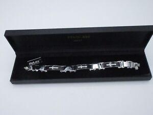 "Relex Stainless Steel Men's Bracelet Rhinestone Cross Black Enamel 8"" New in Box"