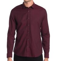 John Varvatos Star USA Men's Long Sleeve Karl Snap Front Solid Sport Shirt Port