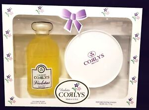 Corlys Violetas Cologne Splash Glass Bottle 8 oz & Dusting Powder 3 oz Gift Set