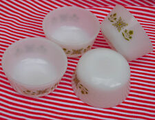 4 Custard Cups Ramekins Fire-King Meadow Green 1970s American milk glass bowls