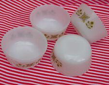 4 Tazas de natilla Moldes No Fire-king Prado Verde 1970s American Tazones de cristal de leche