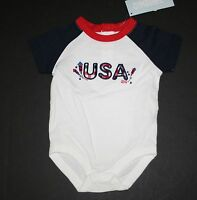 New Gymboree Boys USA July 4th Bodysuit Top 0-3 Months NWT Red White & Cute