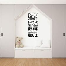 Laugh Take Turns Quote Playroom Kids Vinyl Art Sticker For Playhouse Wall Decals