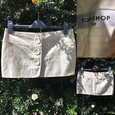 Topshop Size 10 Cream Button Up Front Mini Short Skirt W/ Wool
