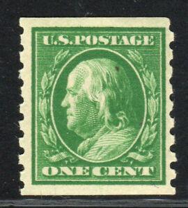 1910 US 392 1c Green Benjamin Franklin Perf 8.5 Vertical MNH VF/XF