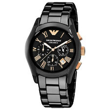 NEW EMPORIO ARMANI AR1410 BLACK CERAMIC CHRONOGRAPH MEN'S WATCH - GOLD CERAMICA