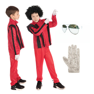 Children's Boys Thriller Kids Michael Jackson Fancy Dress Costume Book Day 80's