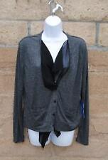 NWT Simply Vera Wang Chiffon Ribbed Gray Black Cardigan Petite Large $48 on Tag