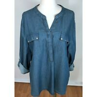 Chicos Size 3 Chambray Blouse Top Long Roll Tab Sleeves Beaded Details XL