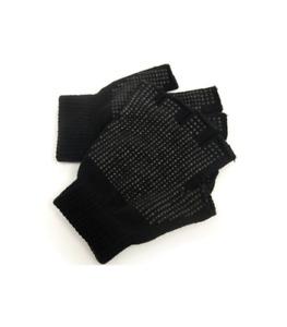 Thermal Fingerless Magic Gripper Gloves Black Warm Winter Thick Mens Ladies