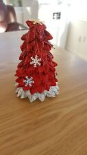 Christmas tree decoration red ribbon winter snowflakes glitter