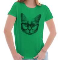 Cool Hipster Cat Shirt | Funny Kitten Cute Gift Idea Pet Love Womens T Shirt