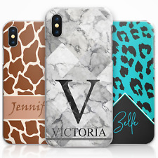 PERSONALISED LEOPARD PRINT PHONE CASE, HARD COVER CUSTOMISED WITH INITIALS/NAME