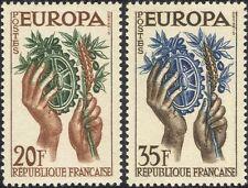 France 1957 Europa/Agriculture/Industry/Crops/Cog Wheel/Business 2v set (ex1001)