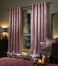 Blush Pink Crushed Velvet Curtains PAIR Ring Top Eyelet OR Pencil Pleat Tape Top