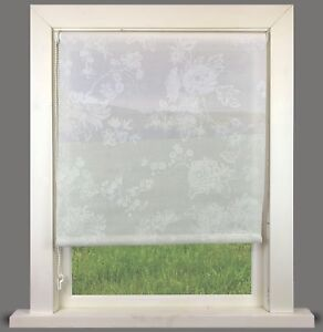 Floral White Sheer Roller Blind - FREE CUT TO SIZE SERVICE
