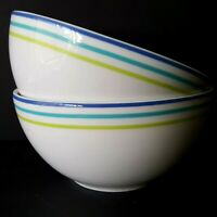 Crate Barrel 2 Cereal Bowls Monno White Blue Turquoise Green Bands More Avail