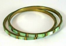 Vintage Bracelets Brass and Inlaid Green Mother of Pearl Bangles Set of 2