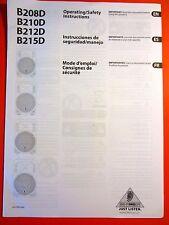 Behringer B208D, B210D, B212D, B215D Speaker Operating Instructions- New !