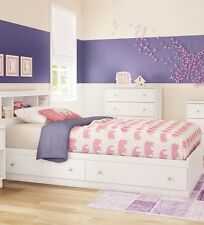 White 2 Piece Storage Drawers Twin Bed Box Headboard Set Kids Bedroom Furniture