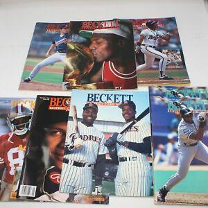 Lot of 8 Vintage Beckett Sports Trading Card Price Guides Jordan, Maddux, Rice