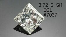 EGL Certificate 3.72ct Princess cut Diamond G Color SI1 Clarity,Engagement,Gift