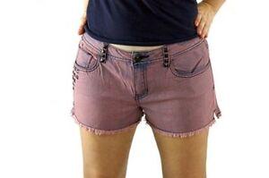 ReWash Juniors Casual Shorts Sz 11 Wine Pink Culture Mix Studded Frayed Shorts