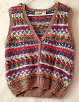 L.L. Bean Ladies Medium Multicolor Knit Button Front Cardigan Sweater Vest
