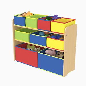 Children Kids Wooden Toy Storage Unit Playroom Shelf Rack With 9 Boxes Organizer