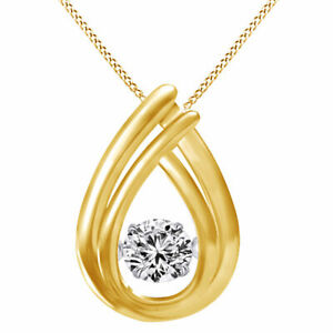 """Yellow Gold Over Round Dancing Simulated Diamond Teardrop Pendant 18"""" Chain"""