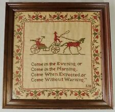 Framed W/Glass Cross Stitch Sampler Come In The Evening Morning Expected Signed