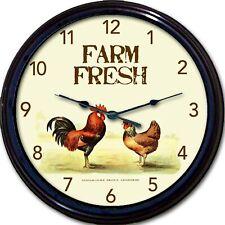 "Rooster Farm Fresh animals Wall Clock Farmer Vintage look New 10"""